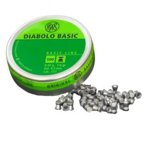 Пули RWS «DIABOLO BASIC» 4.5 мм, 0,45гр., 500шт.  (плоские)