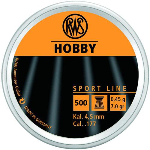 Пули RWS «HOBBY» 4.5 мм, 0,45гр., 500шт.  (плоские)